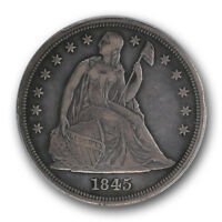 1845 $1 LIBERTY SEATED DOLLAR PCGS VF 30 FINE TO EXTRA FINE CERT9761