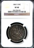 1862 S SEATED LIBERTY HALF DOLLAR XF40 NGC 50C UNITED STATES SILVER COIN