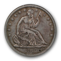 1867 SEATED LIBERTY HALF DOLLAR NGC XF 45 EXTRA FINE TO ABOUT UNCIRCULATED