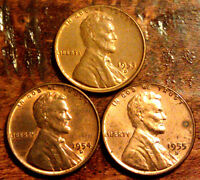 3 AU  WHEAT CENT LINCOLN CENT ANTIQUE  US COIN 1953 D,1954 D,1955 D  196C