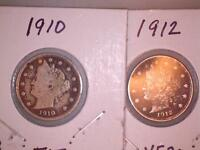 1910 & 1912 V NICKELS, F-VF CONDITION, PARTIAL TO FULL LIBERTY SEE PICS