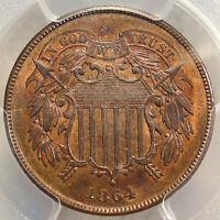 1864 TWO CENTS, GEM UNCIRCULATED PCGS/CAC MINT STATE 65RB, RED BROWN
