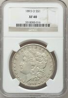 1893-O MORGAN SILVER DOLLAR $1 NGC EXTRA FINE 40 EF40  VAM-3  DATE CERTIFIED