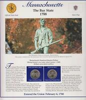 2000 MASSACHUSETTS STATE QUARTERS/COMMEMORATIVE STAMPS  IN USA