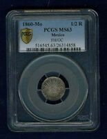 MEXICO CITY MINT REPUBLIC 1860 MO FH/GC 1/2 REAL SILVER COIN CERTIFIED PCGS MS63