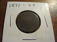 1871 TWO CENT COIN  HOLDER MARKED FINE   LOT PO YP