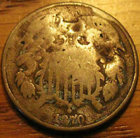 1870 TWO CENT PIECE AS PICTURED DAMAGED SR39