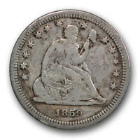 1859 S 25C LIBERTY SEATED QUARTER FINE VF DETAILS SCRATCHED R236