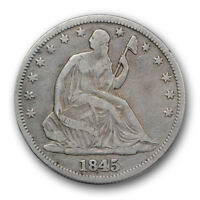 1845 O 50C WB 104 LIBERTY SEATED HALF DOLLAR REPUNCHED DATE FINE TO VF R304