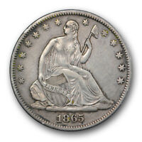 1865 S 50C LIBERTY SEATED HALF DOLLAR EXTRA FINE TO ABOUT UNCIRCULATED R334
