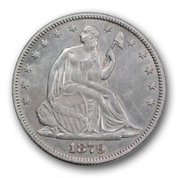 1879 50C LIBERTY SEATED HALF DOLLAR ABOUT UNCIRCULATED TO MINT STATE R347