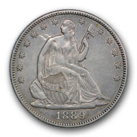 1889 50C LIBERTY SEATED HALF DOLLAR ABOUT UNCIRCULATED AU TONED R360