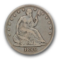 1889 LIBERTY SEATED HALF DOLLAR PCGS F 12 FINE KEY DATE COIN LOW MINTAGE