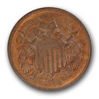 1868 TWO CENT PIECE NGC MINT STATE 65 RB UNCIRCULATED RED BROWN
