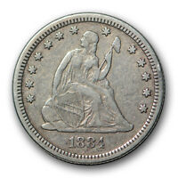 1884 25C LIBERTY SEATED QUARTER FINE TO EXTRA FINE LOW MINTAGE R417