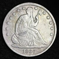 1866 S SEATED LIBERTY HALF DOLLAR CHOICE VF  E193 FM