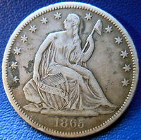 1865 S SEATED LIBERTY HALF DOLLAR FINE TO EXTRA FINE TONED US COIN 8826