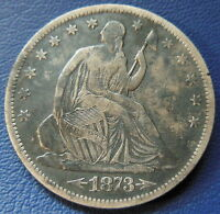 1873 S SEATED LIBERTY HALF DOLLAR FINE TO EXTRA FINE DARK US 50C COIN 6439
