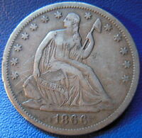 1866 S SEATED LIBERTY HALF DOLLAR FINE TO EXTRA FINE ORIGINAL US COIN 9558