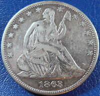 1863 SEATED LIBERTY HALF DOLLAR FINE TO XF COIN CIVIL WAR DATE CLN. 10876