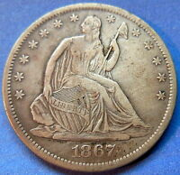 1867 S SEATED LIBERTY HALF DOLLAR EXTRA FINE XF BETTER DATE US COIN 5493