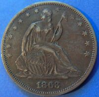 1863 CIVIL WAR ERA SEATED LIBERTY HALF DOLLAR EXTRA FINE TO AU 3964