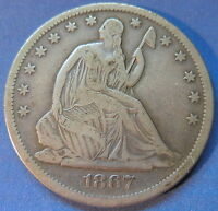 1867 S SEATED LIBERTY HALF DOLLAR FINE TO EXTRA FINE BETTER DATE COIN 5580