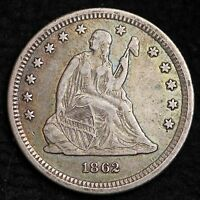 1862 SEATED LIBERTY QUARTER CHOICE XF AWESOME COLOR  E320FT