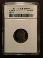 1996-S PROOF JEFFERSON NICKEL ANACS PF-66 HVY CAM W/ SHIPS FREE X1421