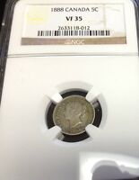 1888 5C CANADA 5 CENTS NGC VF 35