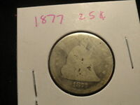 1877  .SEATED LIBERTY.. QUARTER ..135  YEAR OLD 90 SILVER COIN .