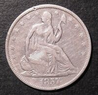 1857 50C LIBERTY SEATED HALF DOLLAR VF DETAILS. HARSHLY CLEANED.