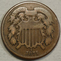 1871 TWO CENT PIECE, BETTER DATE,   GOOD  1112-03