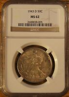 1943-D WALKING LIBERTY HALF DOLLAR-GRADED MINT STATE 62 BY NGC 2608838-005