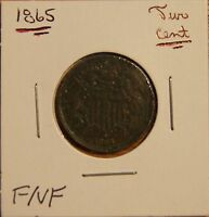1865 2 CENT PIECE-NEARLY 150 YRS OLD-F FINE TO VF  FINE LOTS OF PETINA