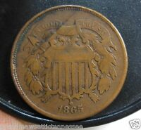 NICE 1865 TWO CENT PIECE OBVERSE STRUCK OFF CENTER  LIGHT GRAFETTI ON REVERSE