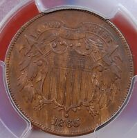 1865 TWO CENT PIECE PCGS EXTRA FINE 45, NOT NOTED, BUT FS-1301 FANCY 5 REPUNCHED DATE