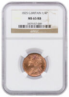 1825 GEORGE IV 1/4P COPPER FARTHING GREAT BRITAIN NGC MS65 RB SKU39272
