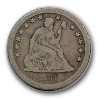 1865 S 25C LIBERTY SEATED QUARTER GOOD TO FINE SAN FRANCISCO R700