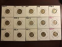 15 DIFFERENT ROOSEVELT DIMES 1970 TO 2005 P & D WITH 1971 1978 D 1982 P 1983 P
