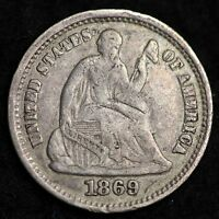 1869 S SEATED LIBERTY HALF DIME CHOICE XF/AU  E190 HC