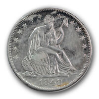 1848 O 50C LIBERTY SEATED HALF DOLLAR ABOUT UNCIRCULATED AU CLEANED R831