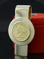 VINTAGE ESTATE RIVIERA 14K 22K GOLD 1886 $5D AMERICAN LIBERTY COIN MONEY CLIP