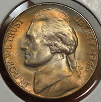 1946 D JEFFERSON NICKEL CHOICE UNC WITH STEPS & NICE TONING   0724 29