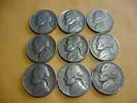 9 DIFFERENT  JEFFERSON NICKELS  1939   1954  WITH A 1943 P WAR NICKEL