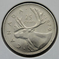CANADA   25 CENTS 1970   CARIBOU KEY DATE LOW MINTAGE   CIRC.   C278