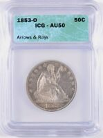 1853 O ARROWS AND RAYS SEATED HALF DOLLAR ICG AU 50