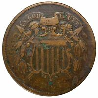 1864 2 CENT LARGE MOTTO -MOSTLY VISIBLE WE -