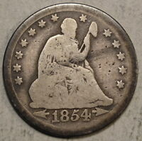 1854 O SEATED LIBERTY QUARTER BETTER DATE CIRCULATED TYPE COIN  0504 07