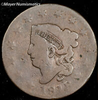 1818 CORONET HEAD LARGE CENT 1600.D0880 N 9 R3 G  GOOD